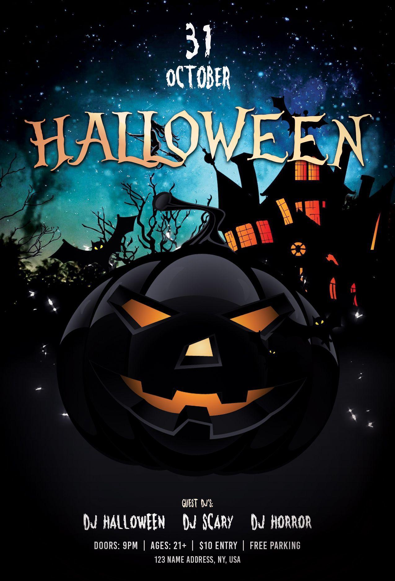 000 Phenomenal Free Halloween Party Flyer Template Inspiration  TemplatesFull