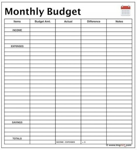 000 Phenomenal Free Printable Home Budget Template Design  Sheet Form480