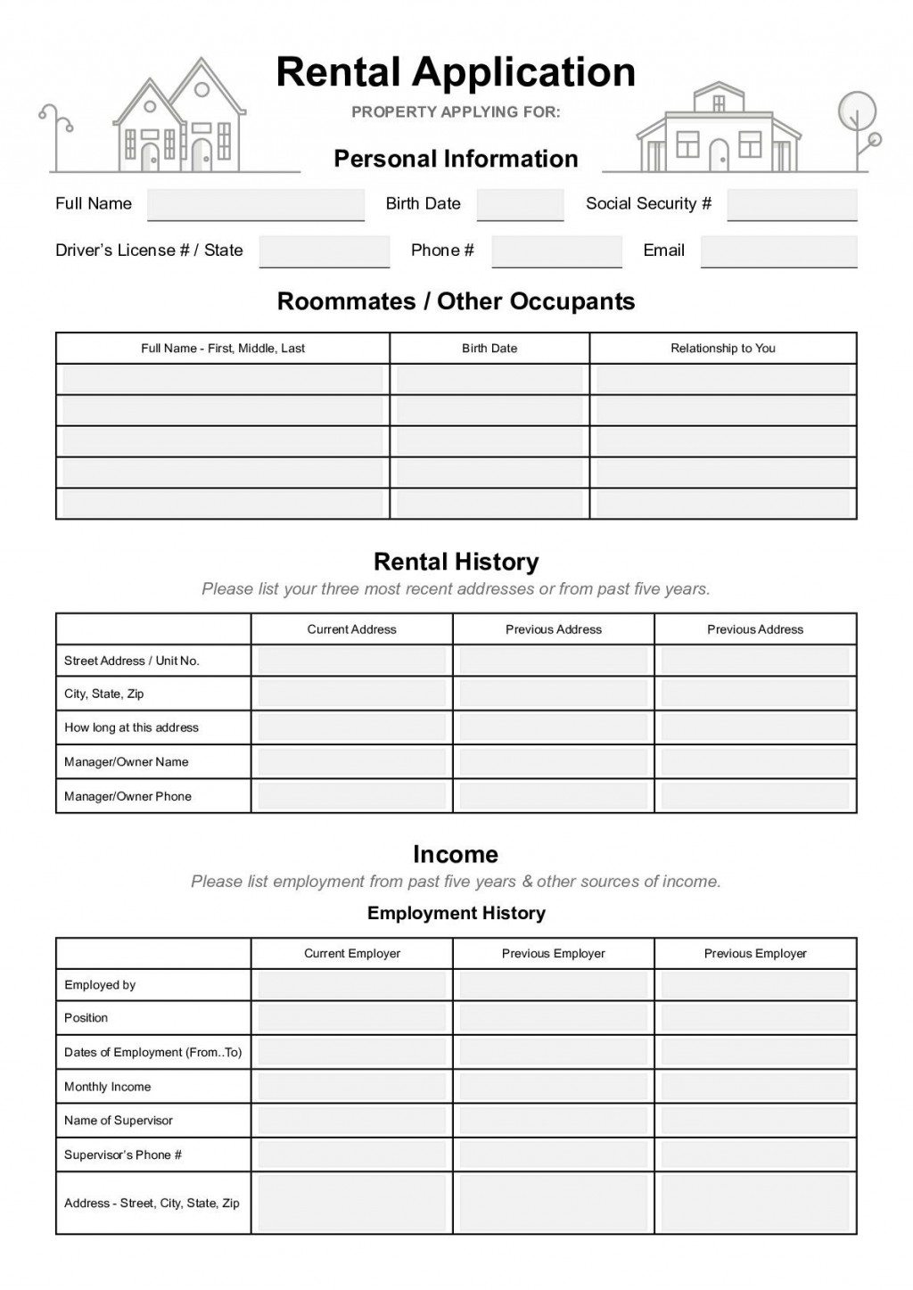 000 Phenomenal Free Rental Application Template Idea  Form Oregon Credit OnlineLarge