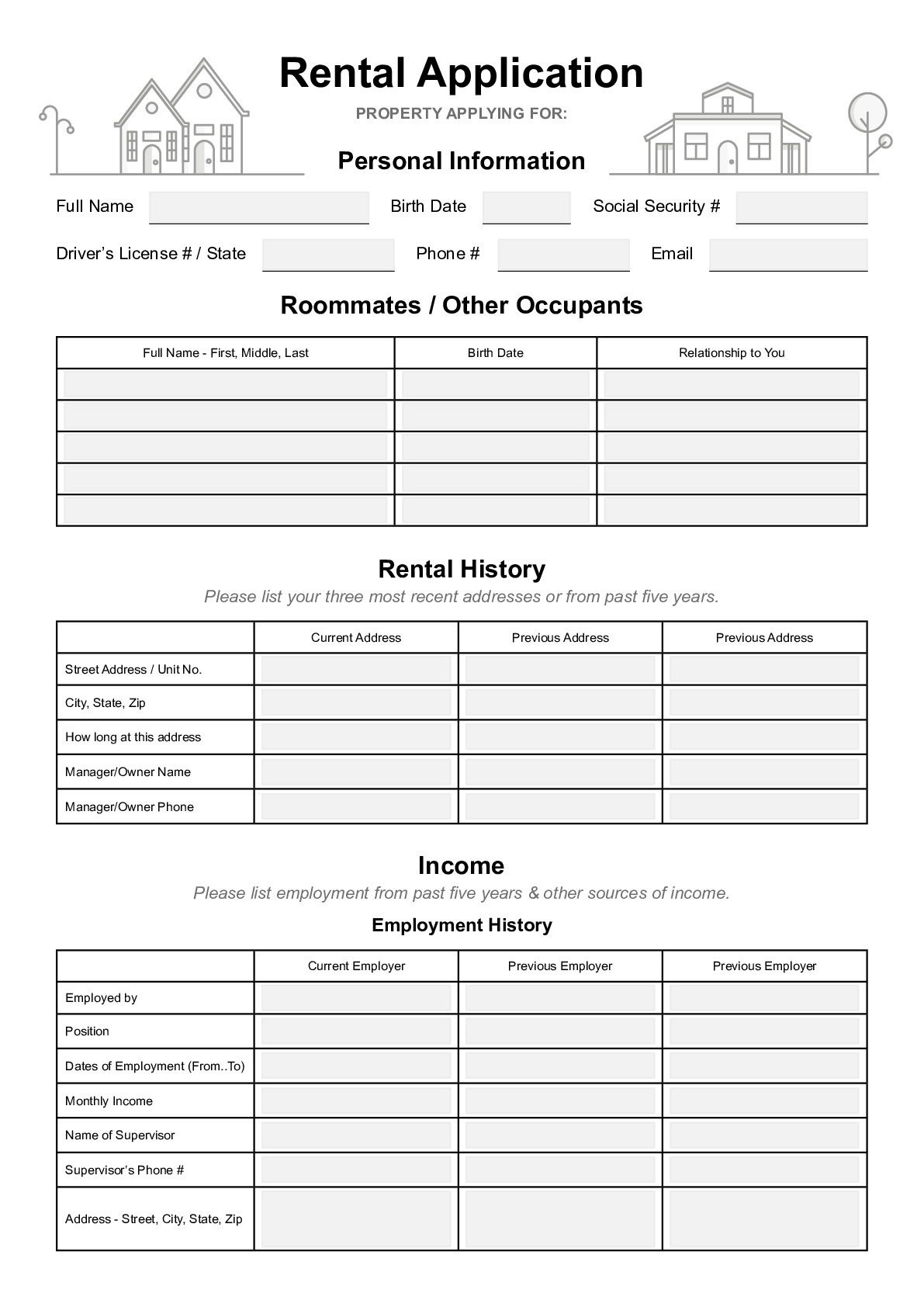 000 Phenomenal Free Rental Application Template Idea  Form Oregon Credit OnlineFull