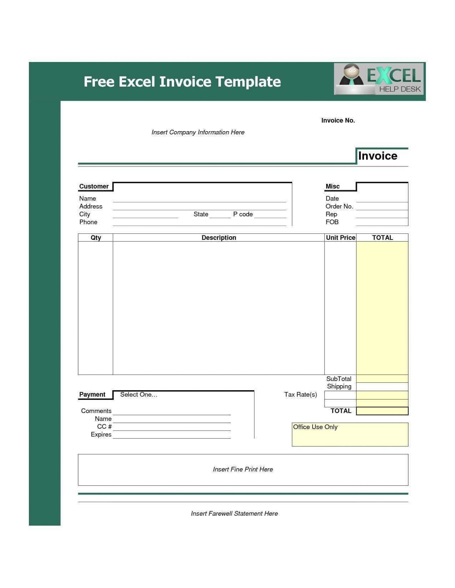 000 Phenomenal Free Tax Invoice Template Excel South Africa High Definition 1920
