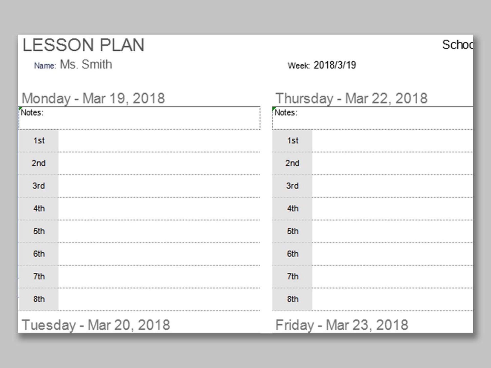 000 Phenomenal Lesson Plan Template Excel Free Inspiration 1920