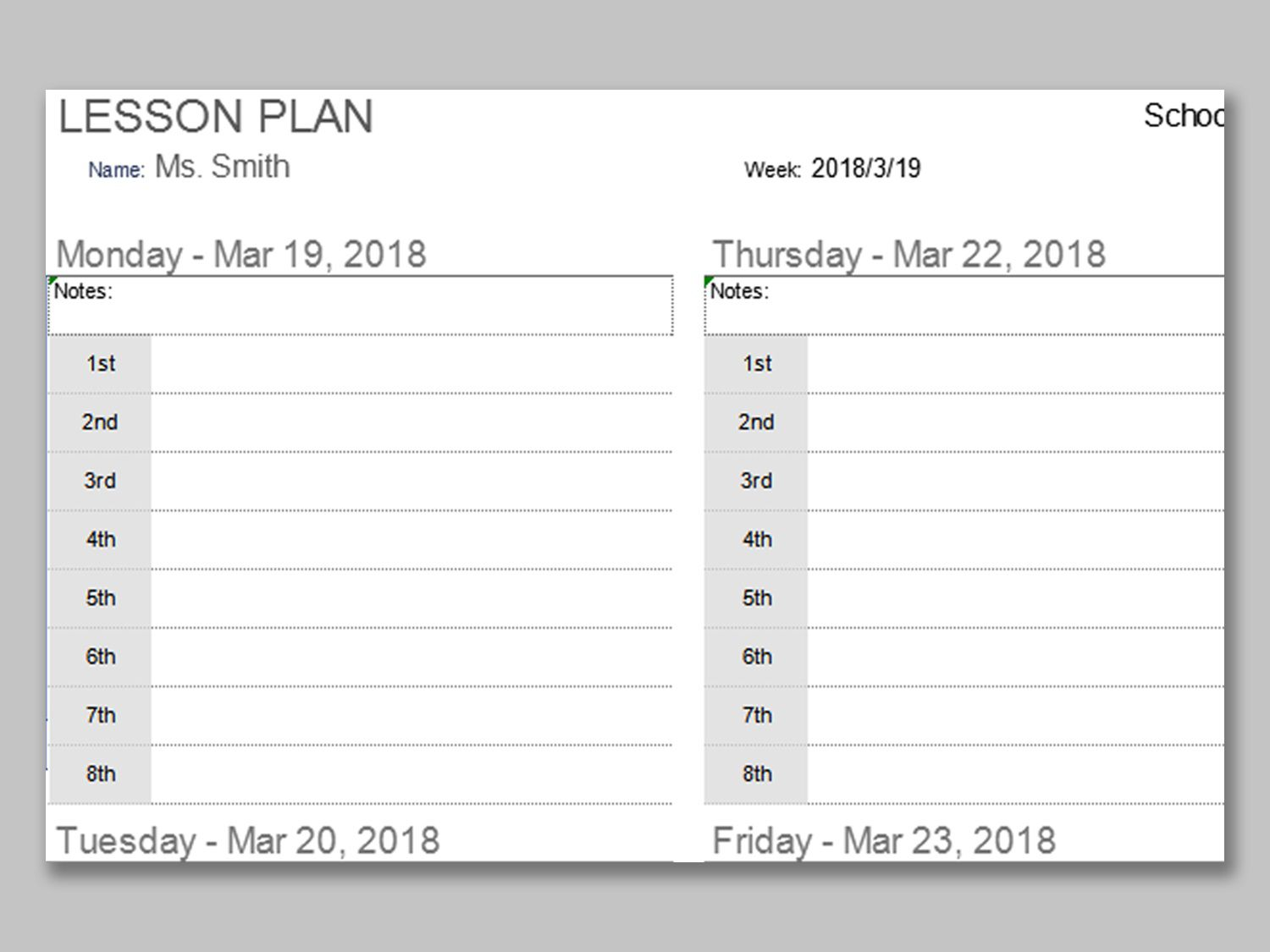 000 Phenomenal Lesson Plan Template Excel Free Inspiration Full