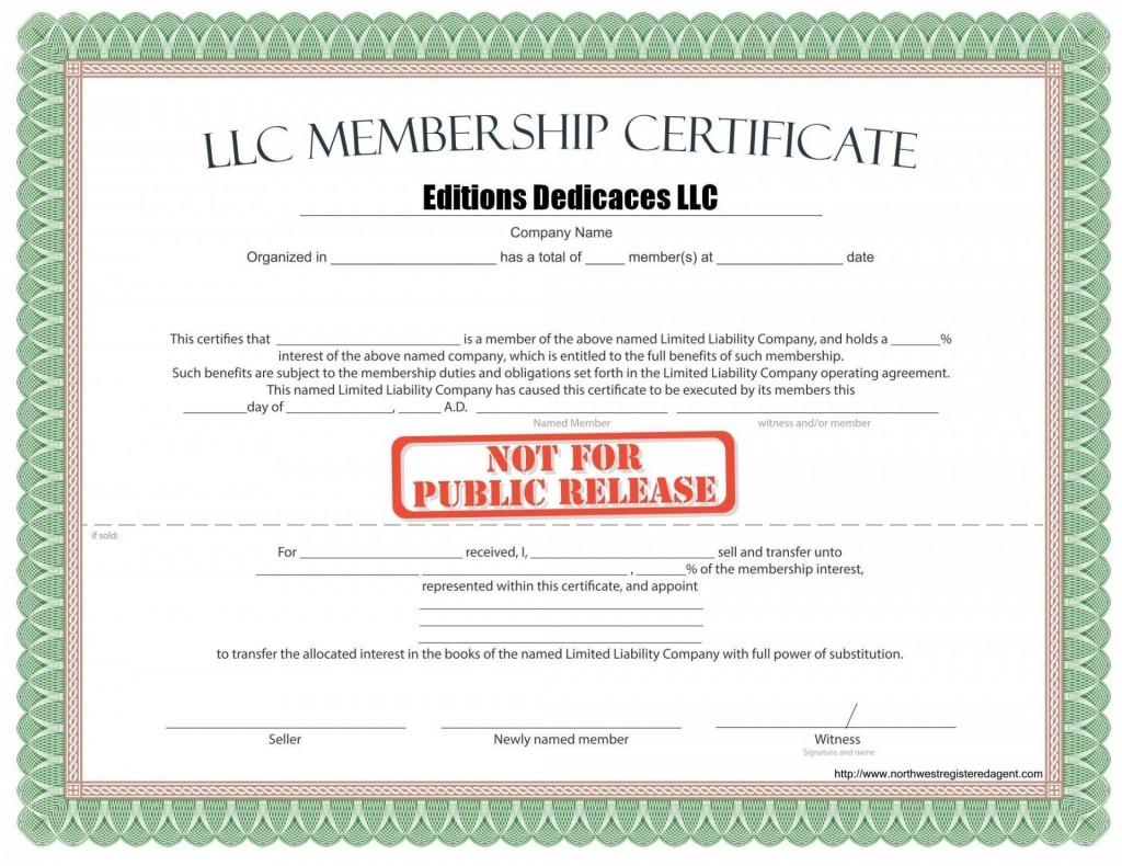000 Phenomenal Llc Membership Certificate Template Inspiration  Interest Free MemberLarge