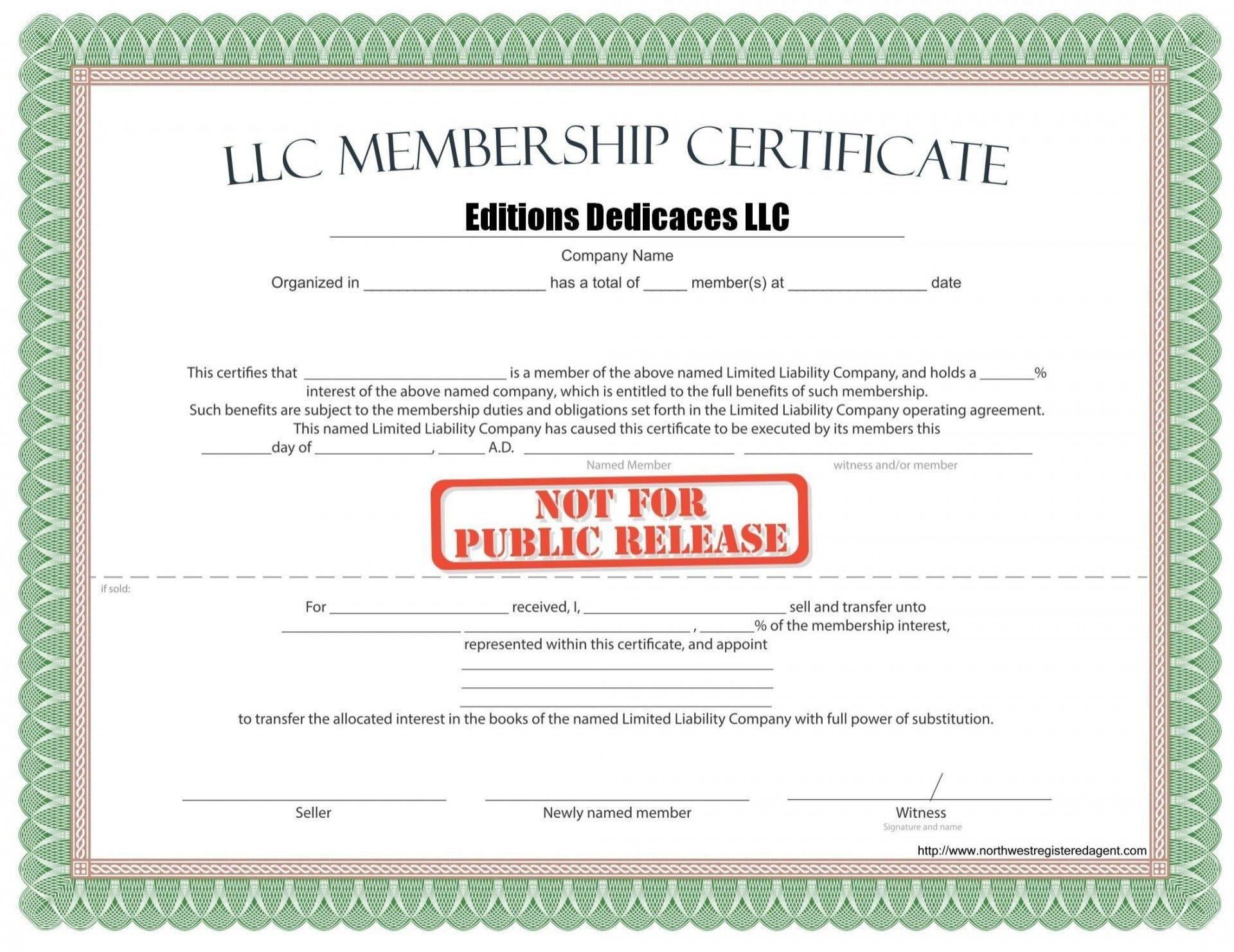 000 Phenomenal Llc Membership Certificate Template Inspiration  Interest Free Member1920
