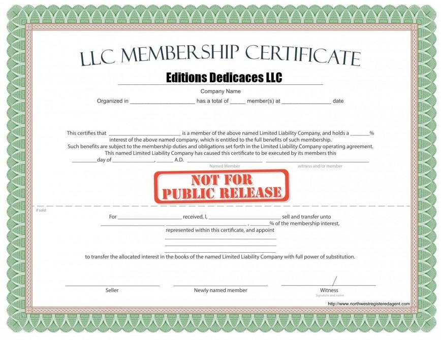 000 Phenomenal Llc Membership Certificate Template Inspiration  Pdf