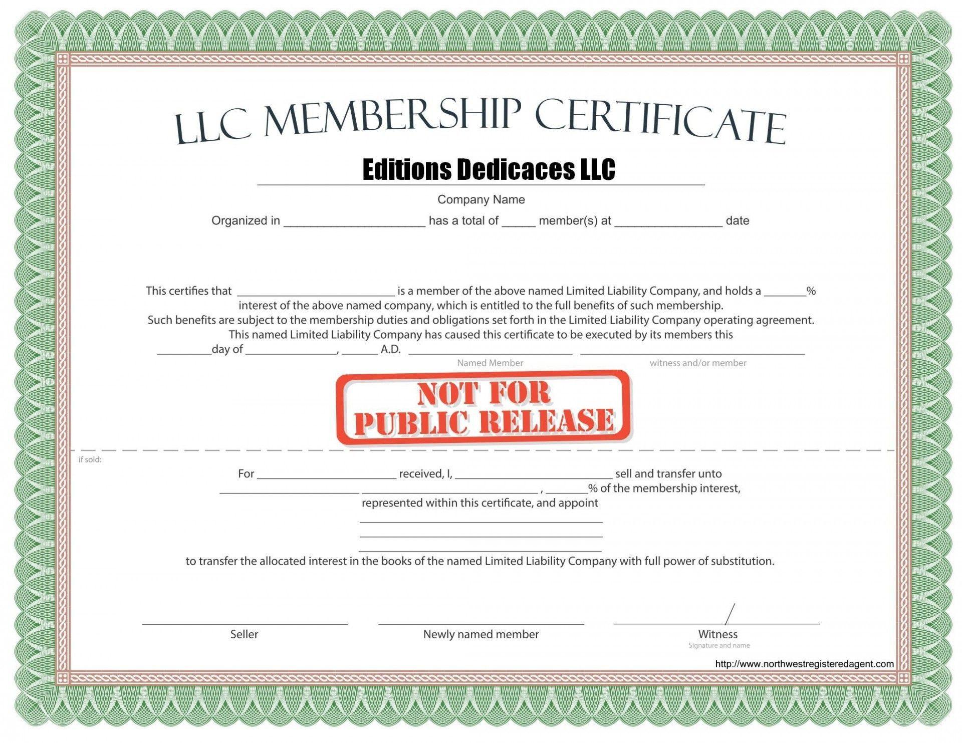 000 Phenomenal Llc Membership Certificate Template Inspiration  Interest Free MemberFull