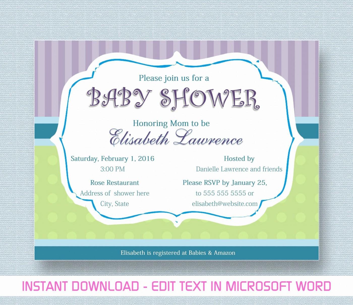 000 Phenomenal Microsoft Word Invitation Template Baby Shower Design  M Invite Free1400