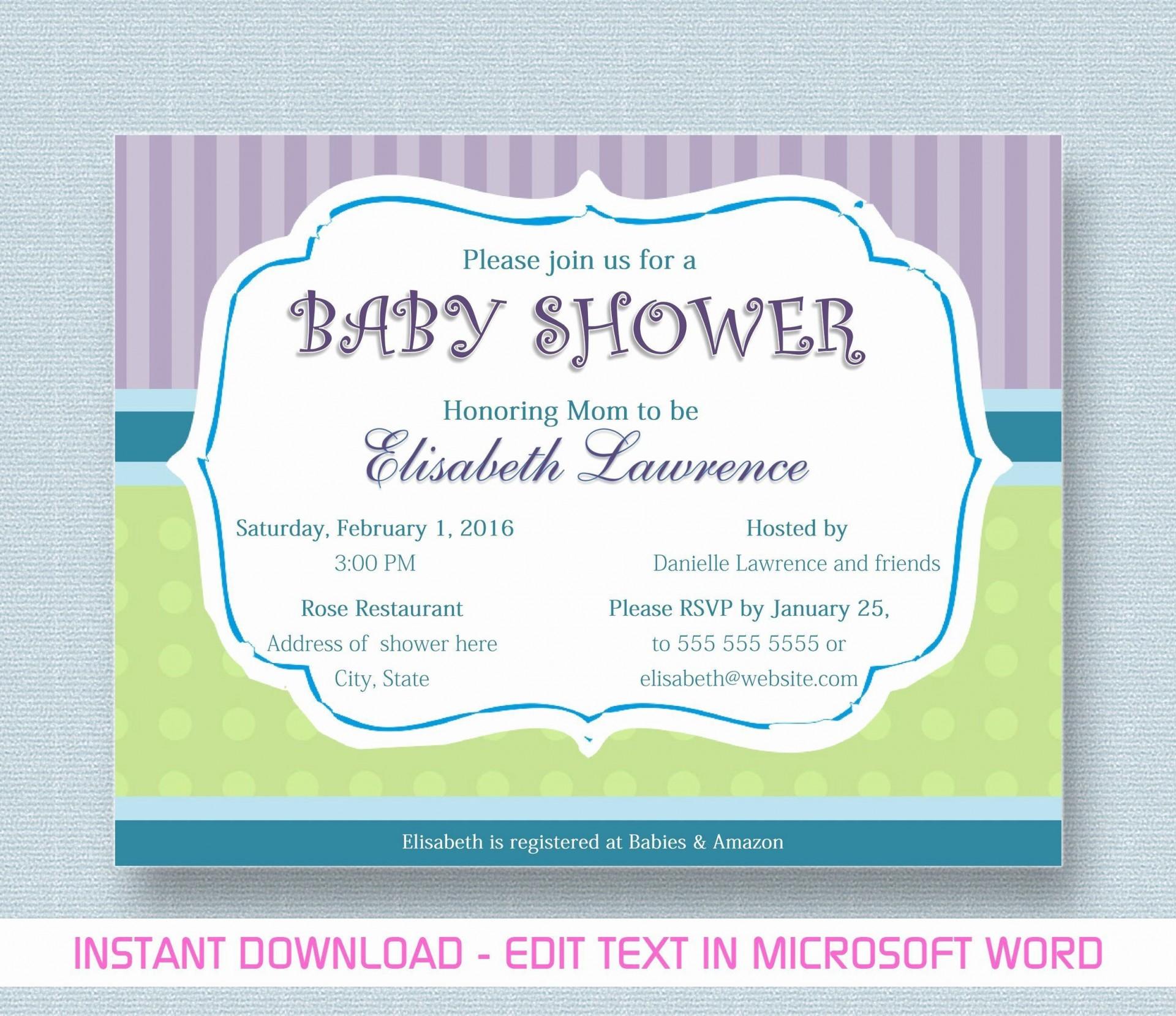 000 Phenomenal Microsoft Word Invitation Template Baby Shower Design  Free Editable Invite1920