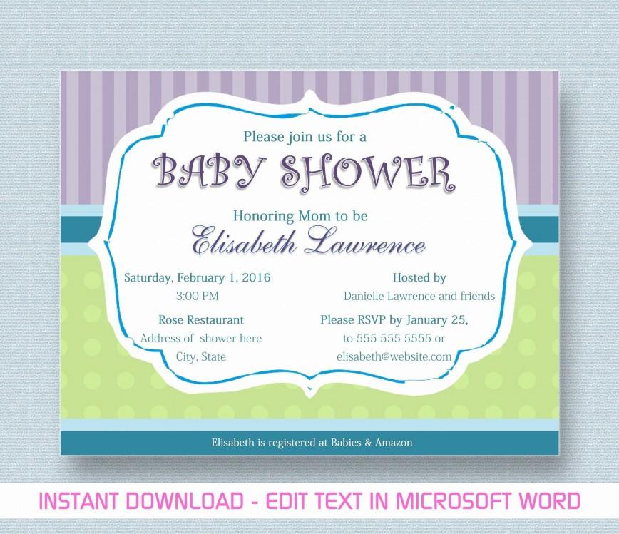 000 Phenomenal Microsoft Word Invitation Template Baby Shower Design  M Invite Free868