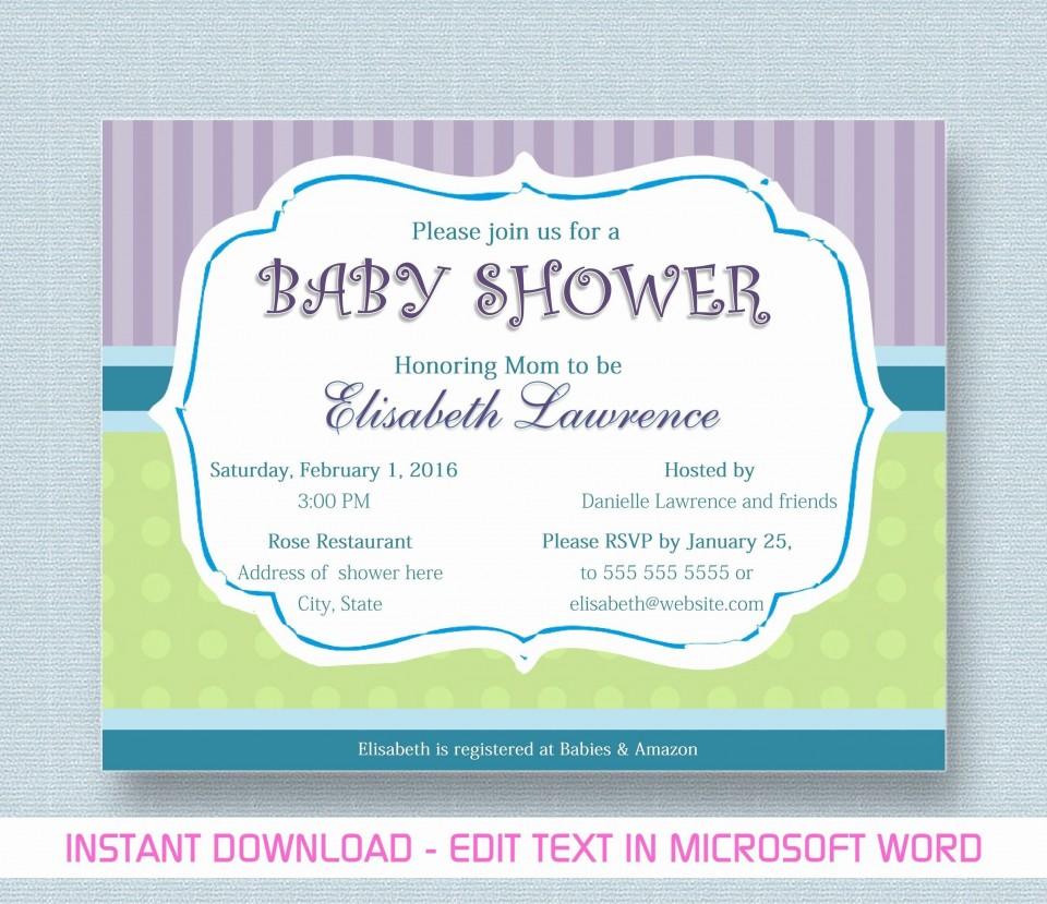 000 Phenomenal Microsoft Word Invitation Template Baby Shower Design  M Invite Free960