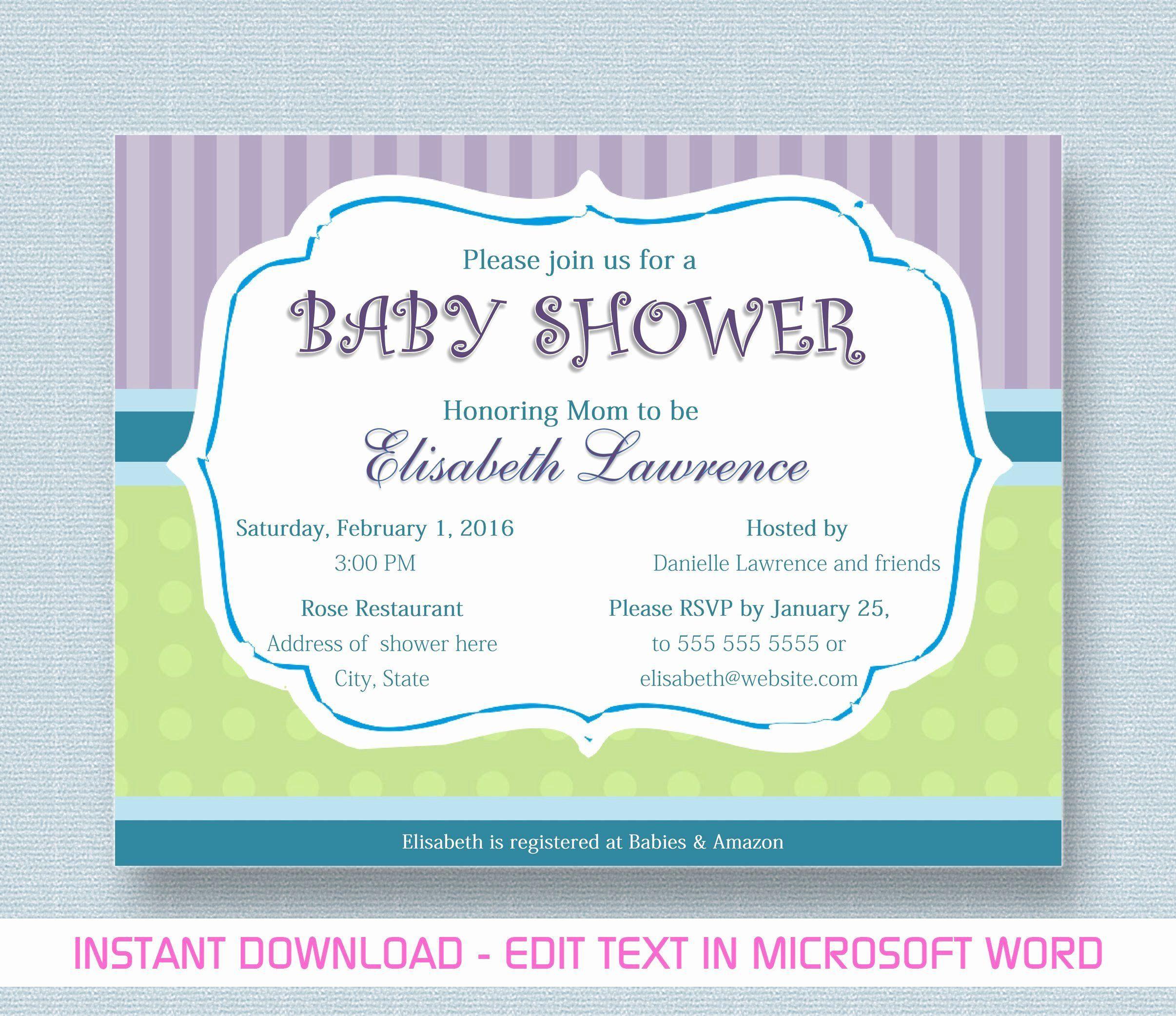 000 Phenomenal Microsoft Word Invitation Template Baby Shower Design  Free Editable InviteFull