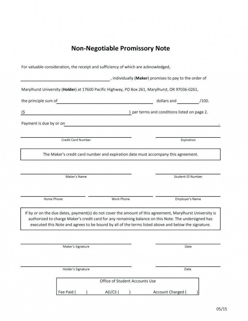 Promissory Note Template Free Addictionary