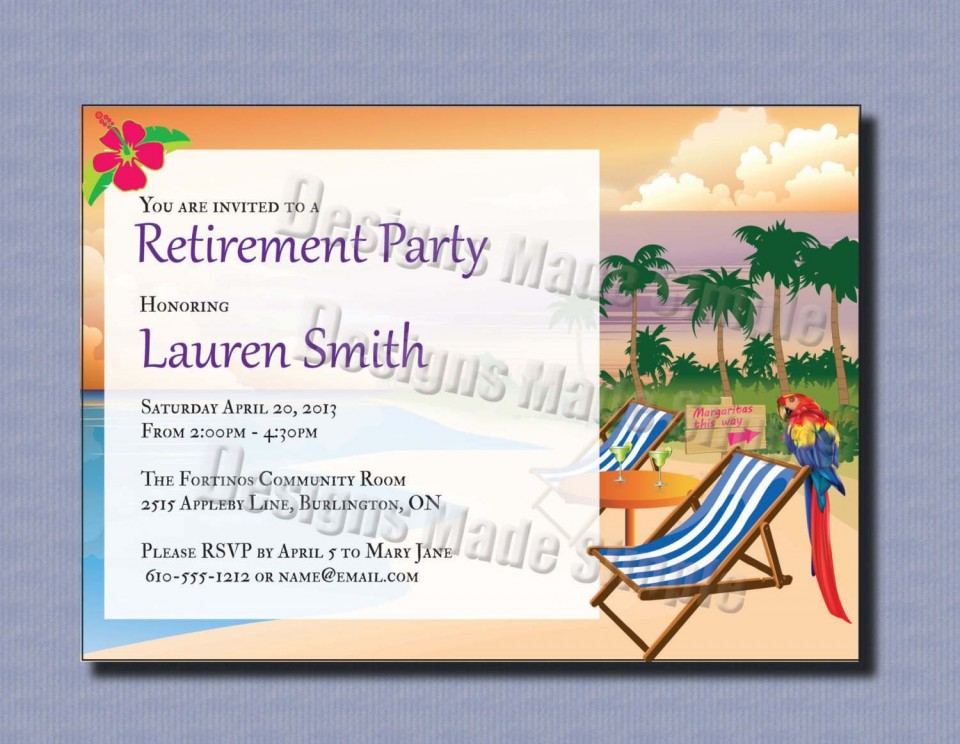 000 Phenomenal Retirement Invitation Template Free Inspiration  Party Printable For Word960