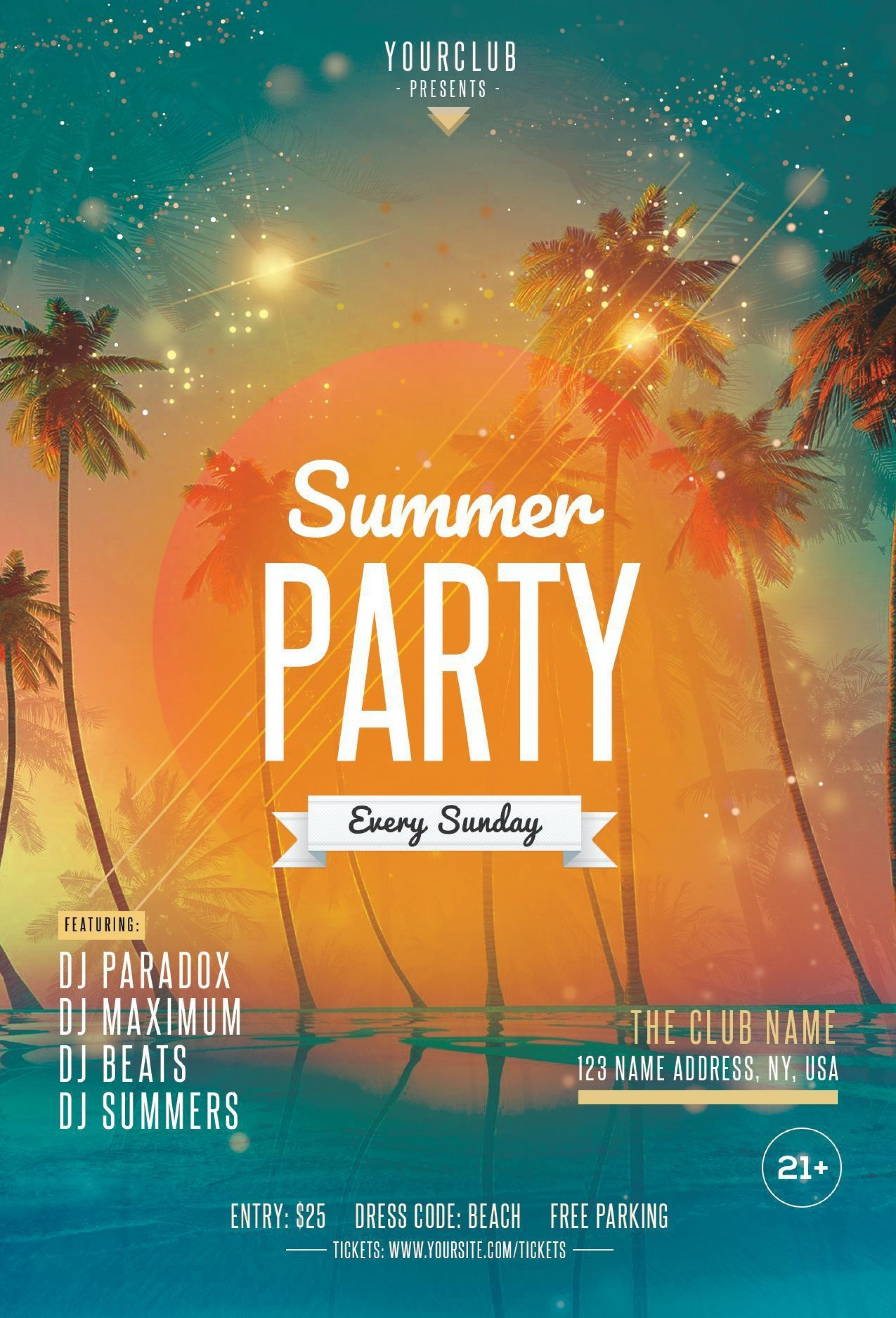 000 Phenomenal Summer Party Flyer Template Free Download Photo 1920