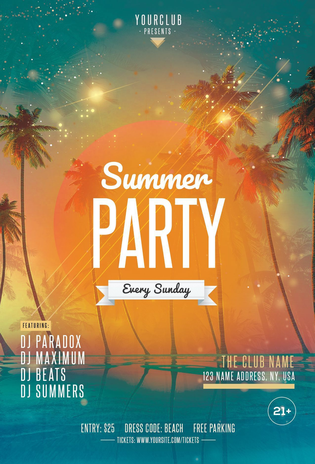 000 Phenomenal Summer Party Flyer Template Free Download Photo Full