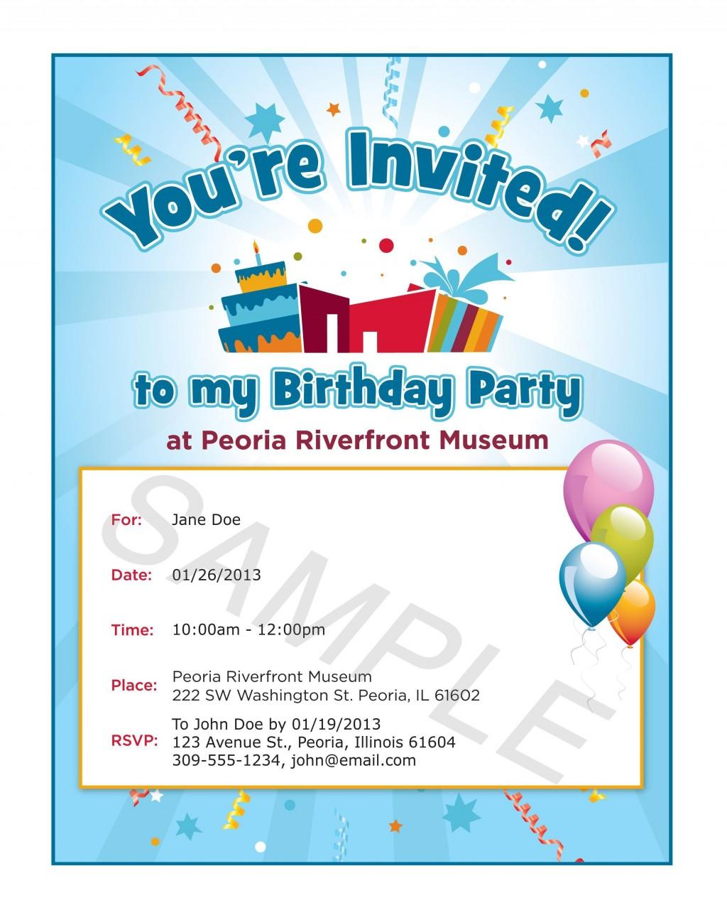000 Rare Birthday Invite Template Word Free Concept  Party InvitationLarge