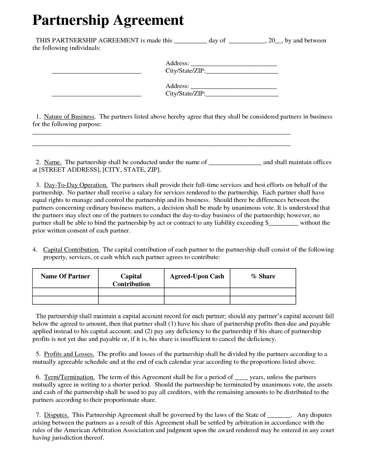 000 Rare Busines Partnership Contract Template Concept  Agreement Free Nz WordFull