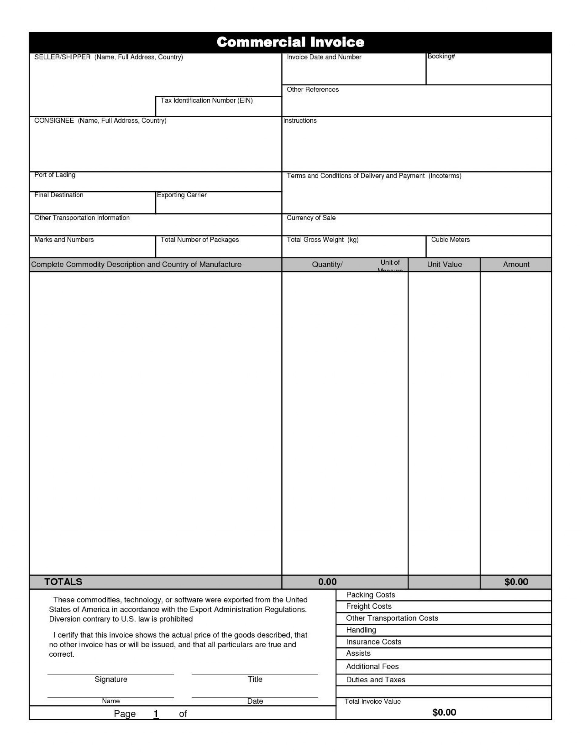 000 Rare Commercial Invoice Template Excel Highest Quality  Free Download1920