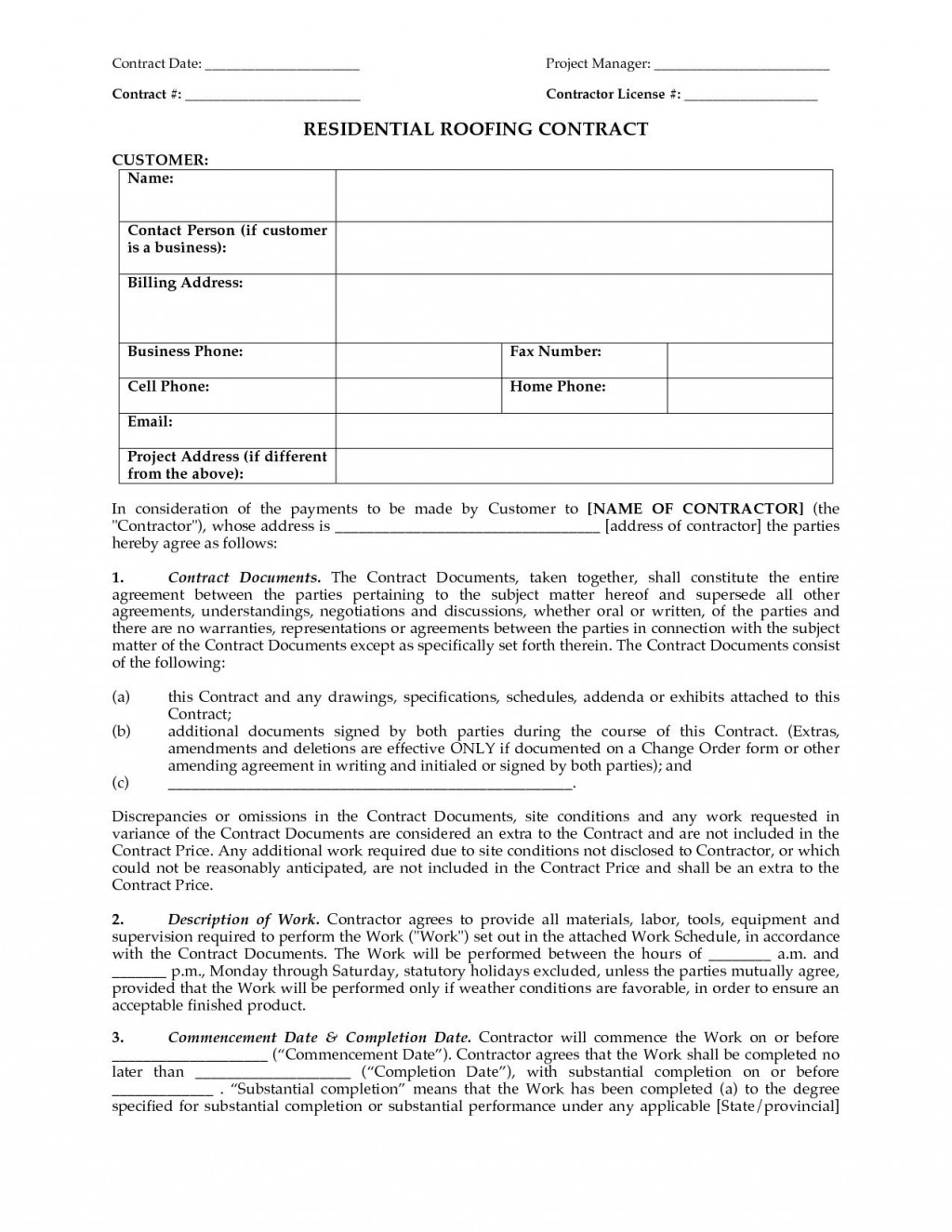 000 Rare Free Residential Roofing Contract Template Idea Large