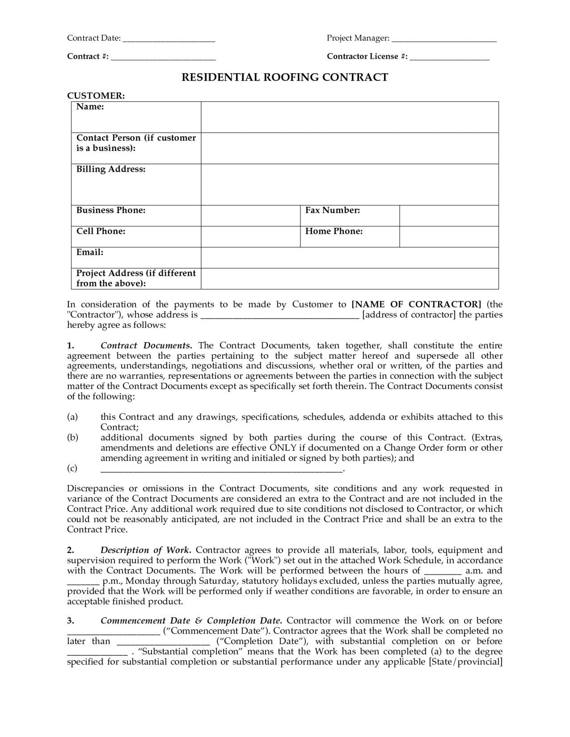 000 Rare Free Residential Roofing Contract Template Idea 1920