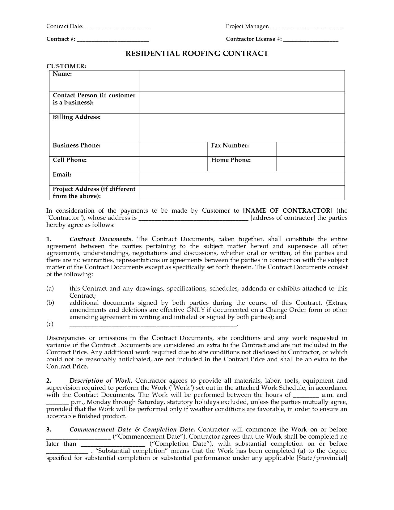 000 Rare Free Residential Roofing Contract Template Idea Full
