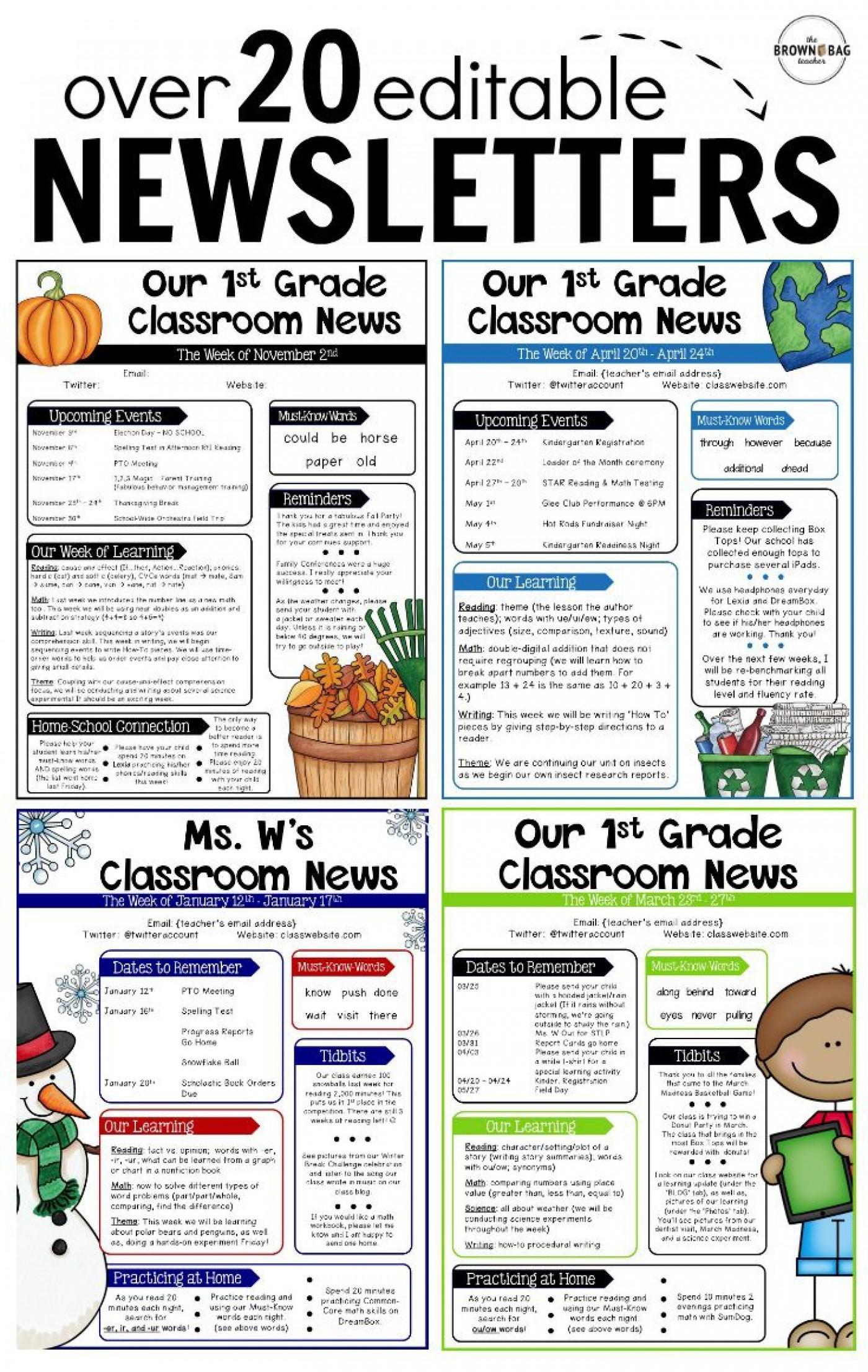 000 Rare Free Teacher Newsletter Template Idea  Classroom For Microsoft Word Google Doc1400