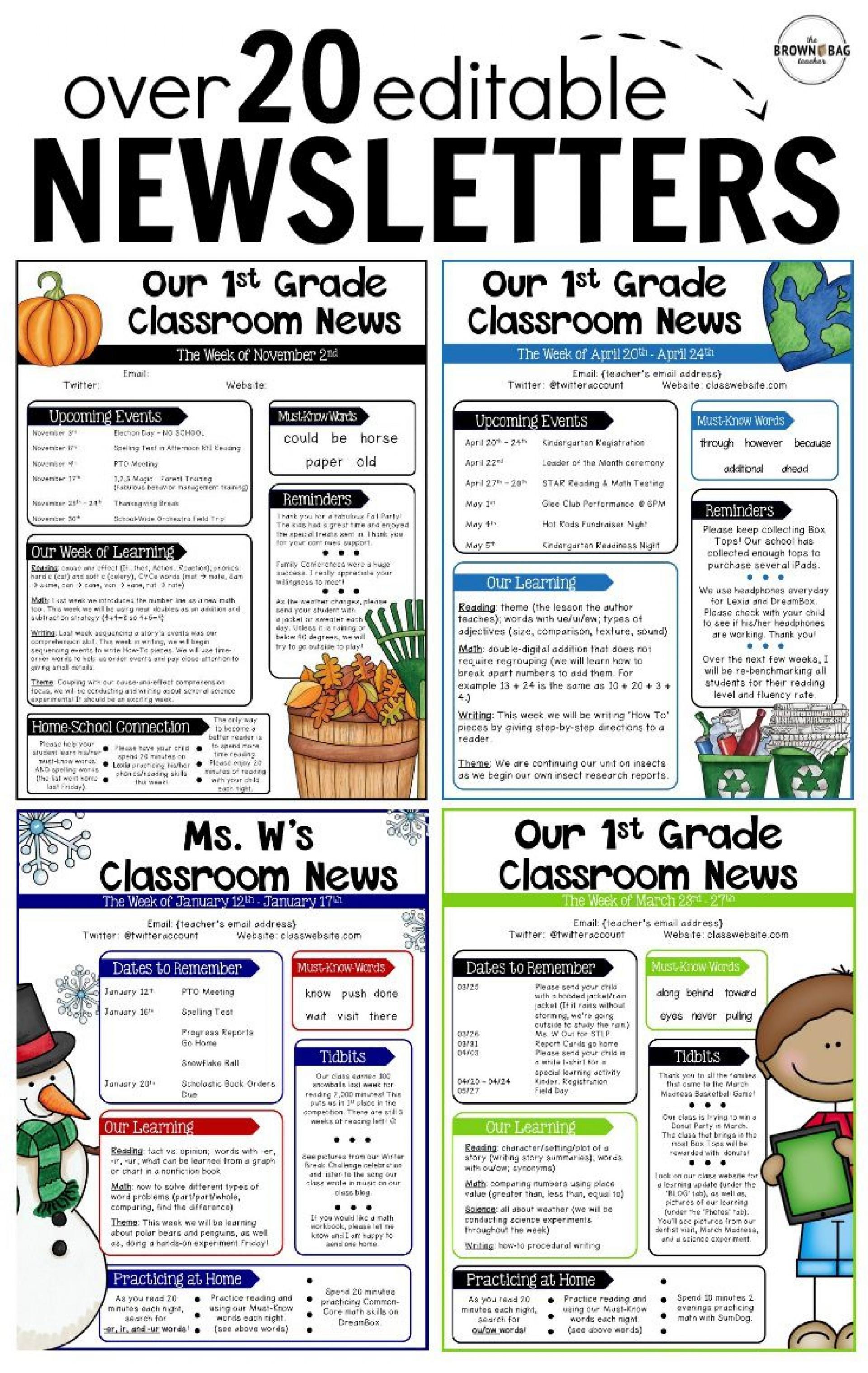 000 Rare Free Teacher Newsletter Template Idea  Classroom For Microsoft Word Google Doc1920