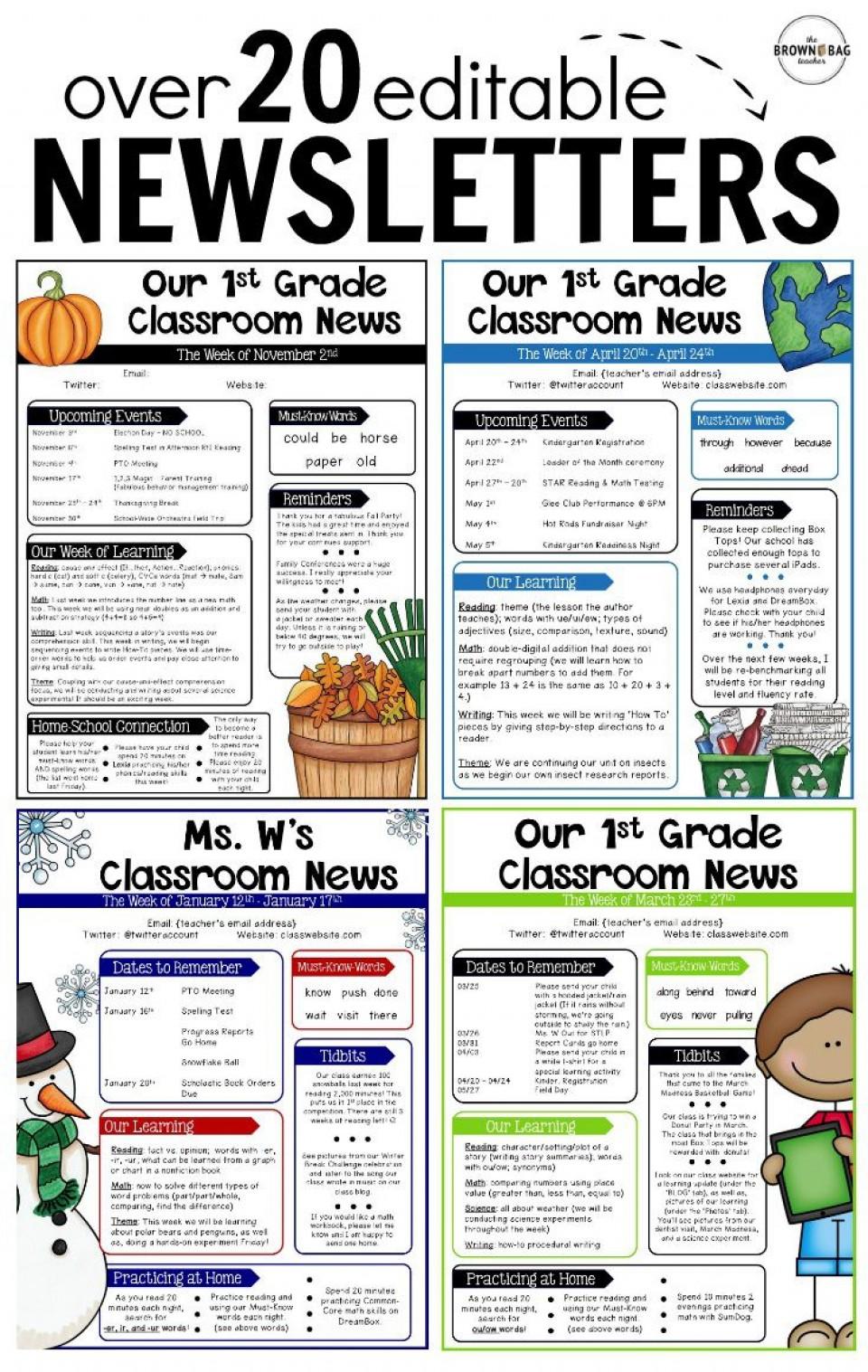 000 Rare Free Teacher Newsletter Template Idea  Classroom For Microsoft Word Google Doc960