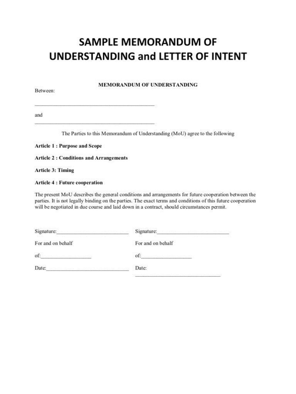 000 Rare Letter Of Understanding Format Highest Quality  Sample MemorandumLarge