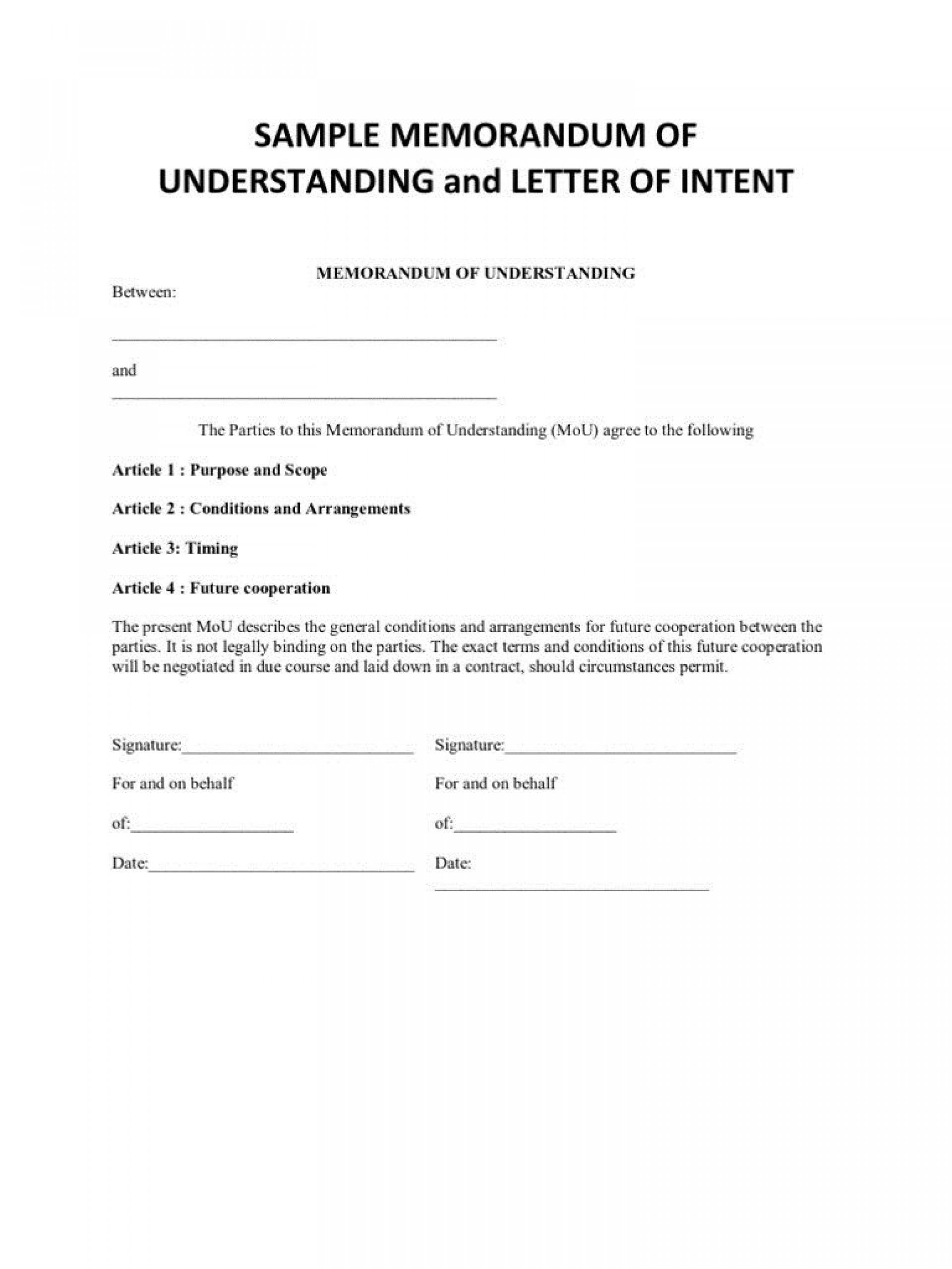 000 Rare Letter Of Understanding Format Highest Quality  Sample Memorandum1920