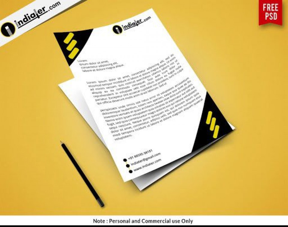 000 Rare Letterhead Template Free Download Psd Design  Corporate A4960