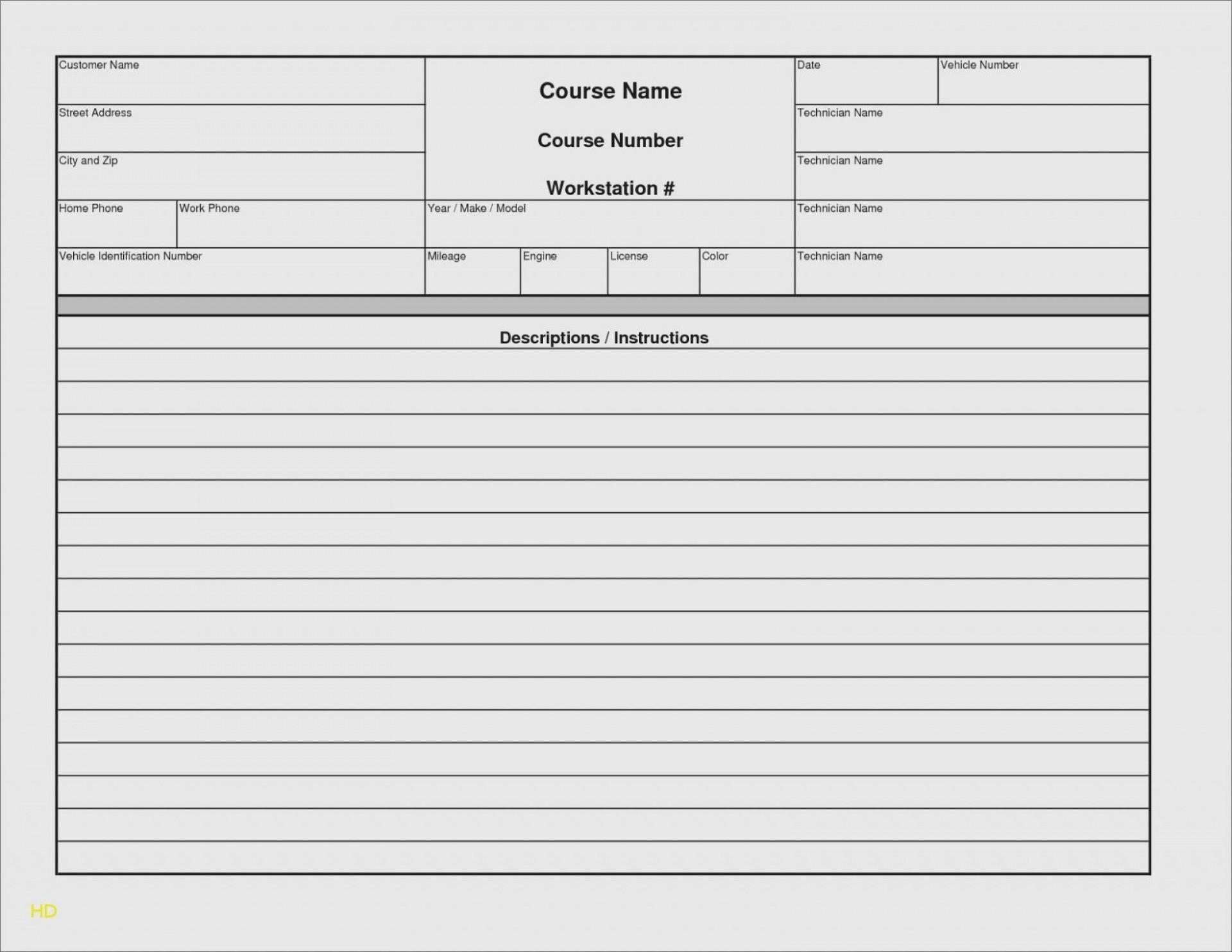 000 Rare Microsoft Excel Auto Repair Invoice Template Image 1920