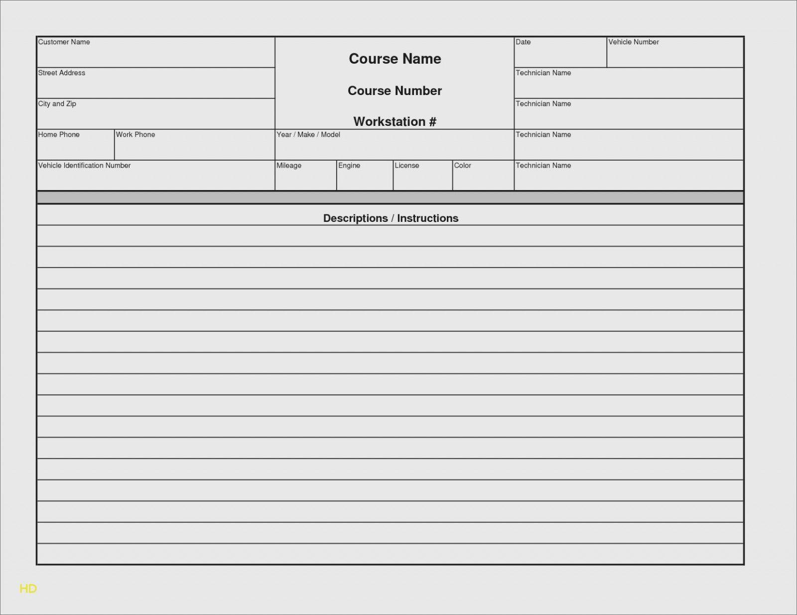 000 Rare Microsoft Excel Auto Repair Invoice Template Image Full