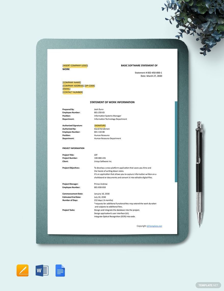 000 Rare Project Statement Of Work Template Doc Design Full