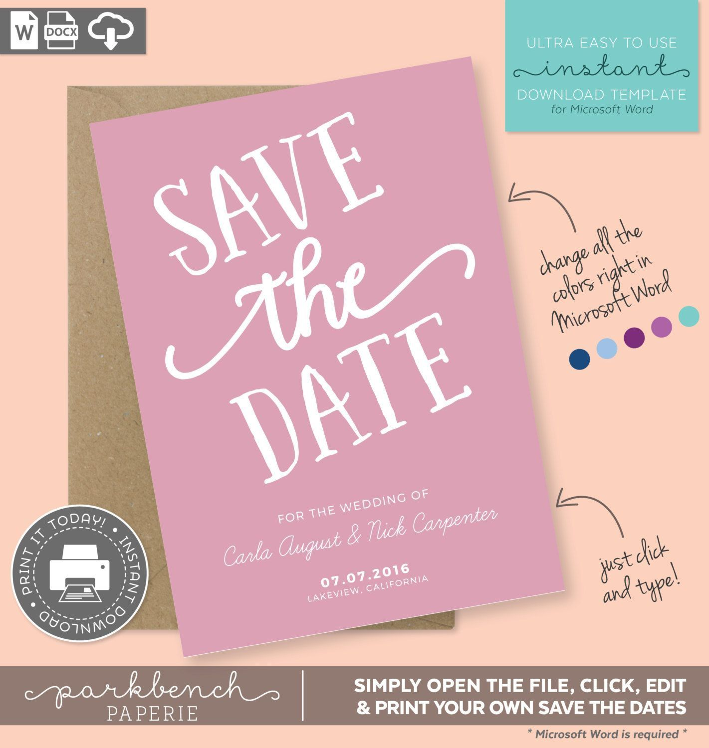 000 Rare Save The Date Template Word Inspiration  Free Customizable For Holiday PartyFull