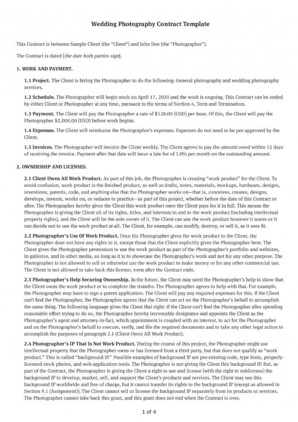 000 Rare Wedding Photography Contract Template Pdf High Definition Large