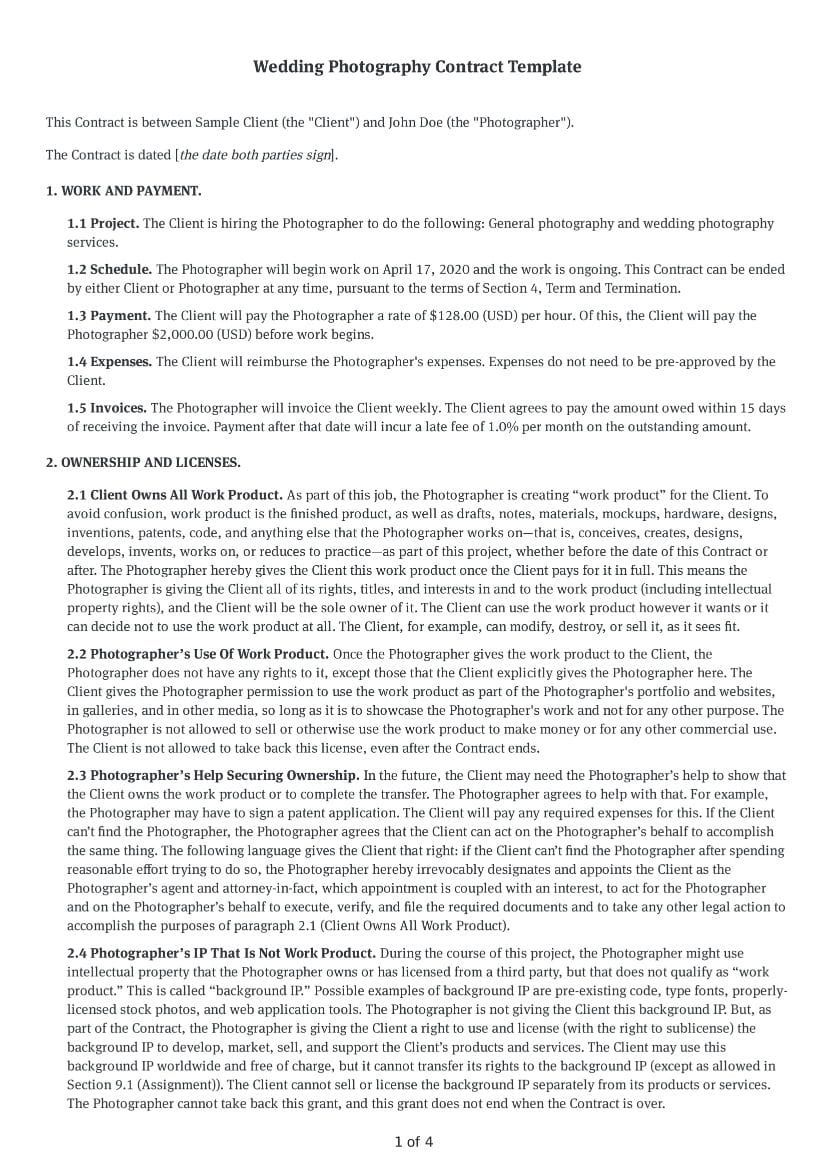 000 Rare Wedding Photography Contract Template Pdf High Definition Full
