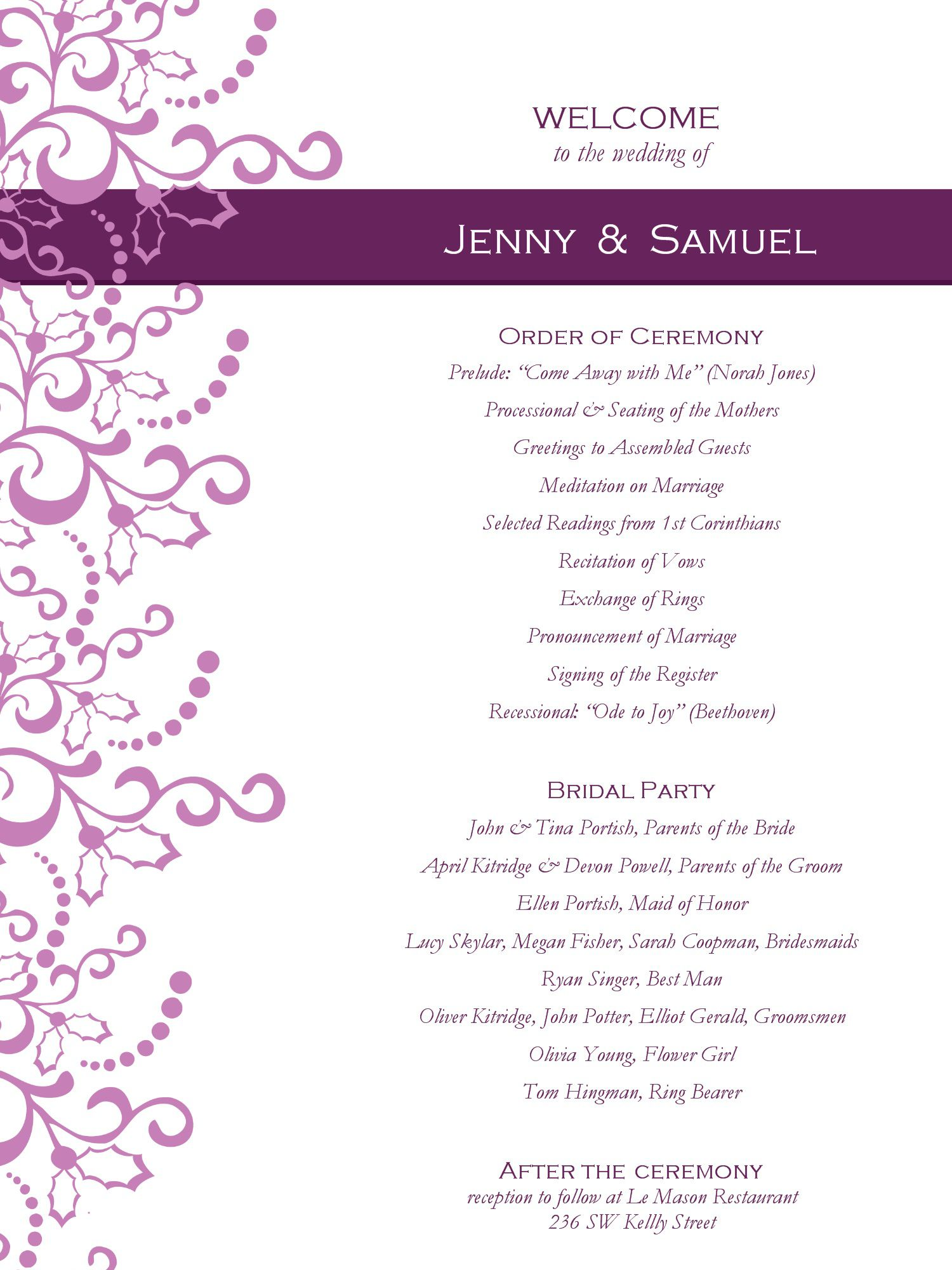 000 Rare Wedding Reception Programme Template High Def  Program Microsoft Word Free Downloadable PdfFull