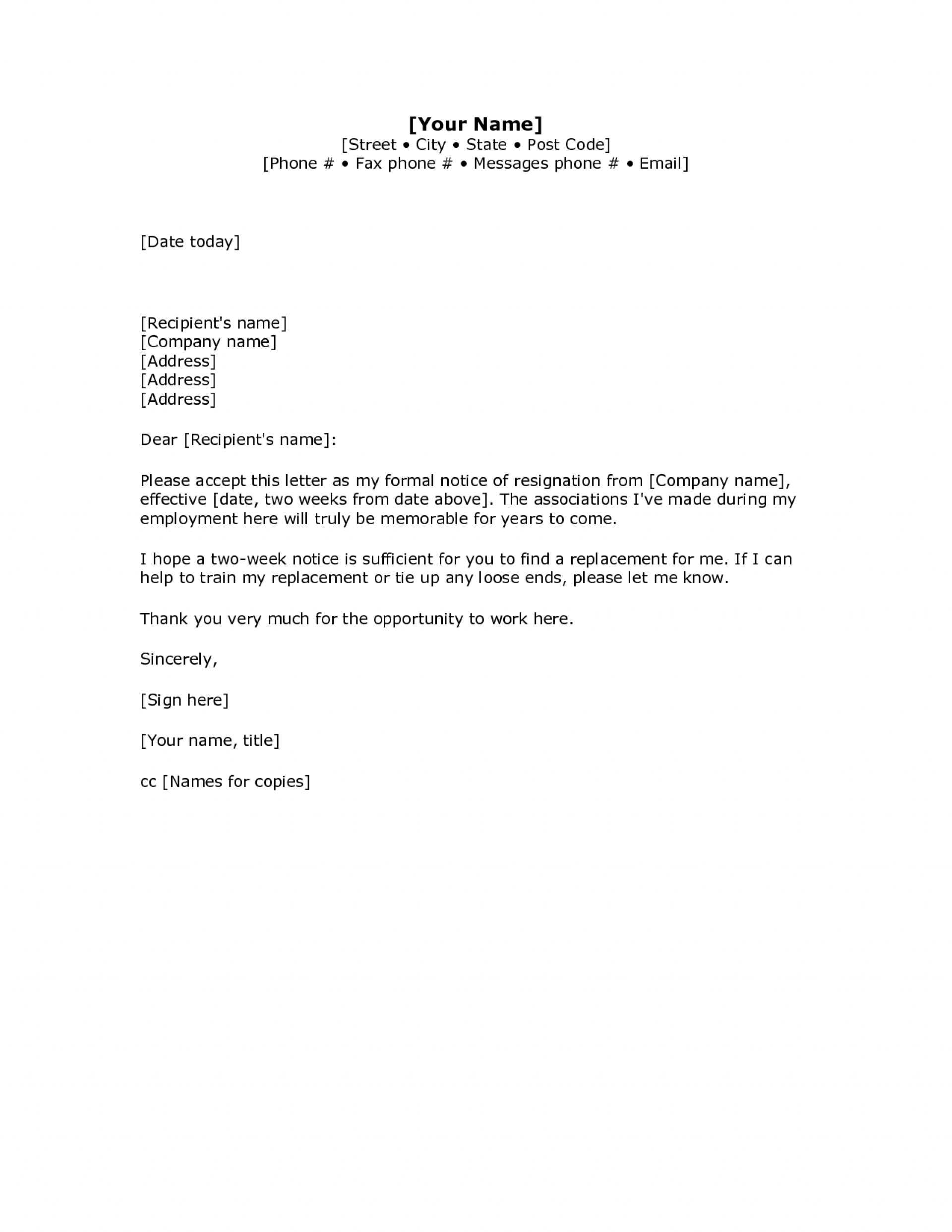 000 Remarkable 2 Week Notice Template Word Inspiration  Free Microsoft1920