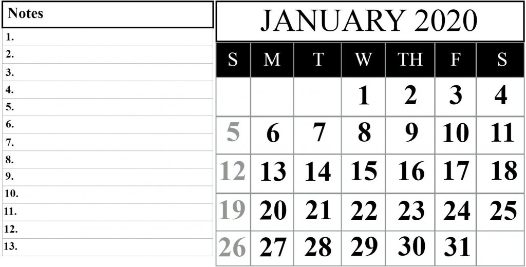 000 Remarkable 2020 Blank Calendar Template High Definition  Printable Monthly Word Downloadable With HolidayLarge