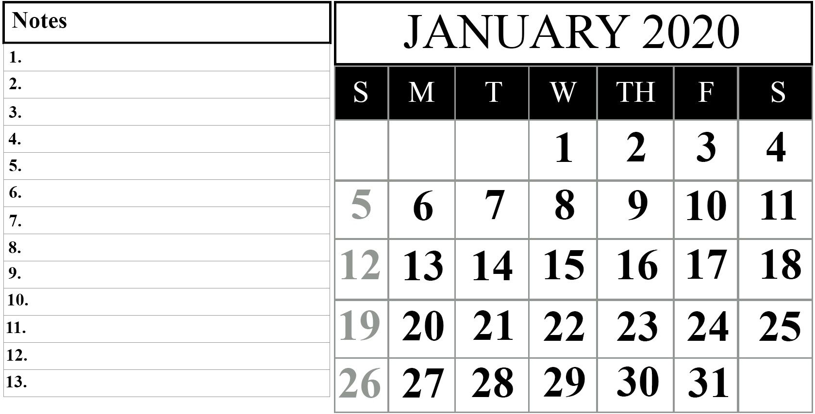 000 Remarkable 2020 Blank Calendar Template High Definition  Printable Monthly Word Downloadable With HolidayFull