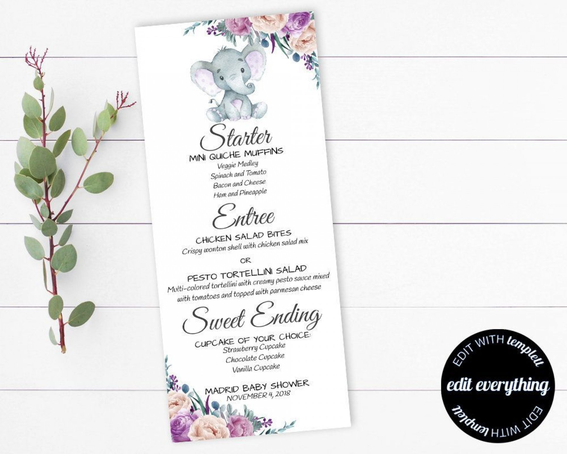 000 Remarkable Baby Shower Menu Template High Def  Templates Lunch Printable Downloadable1920