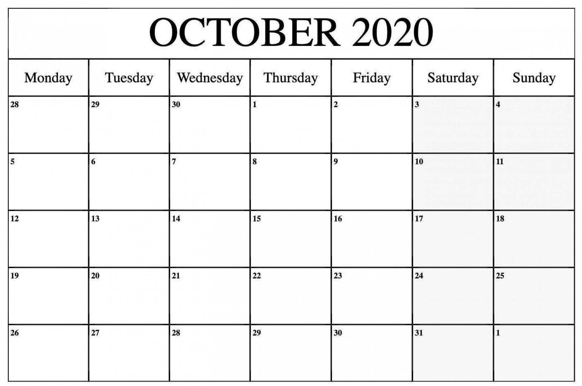 000 Remarkable Blank Monthly Calendar Template Pdf Sample  2019 Printable1920