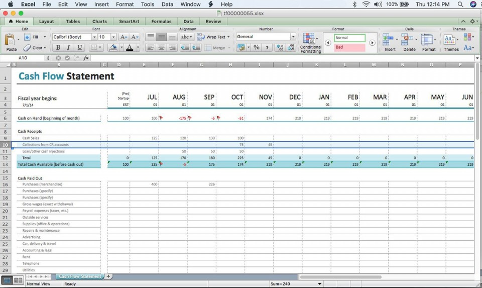 000 Remarkable Cash Flow Sample Excel Photo  Spreadsheet Free Forecast Template960