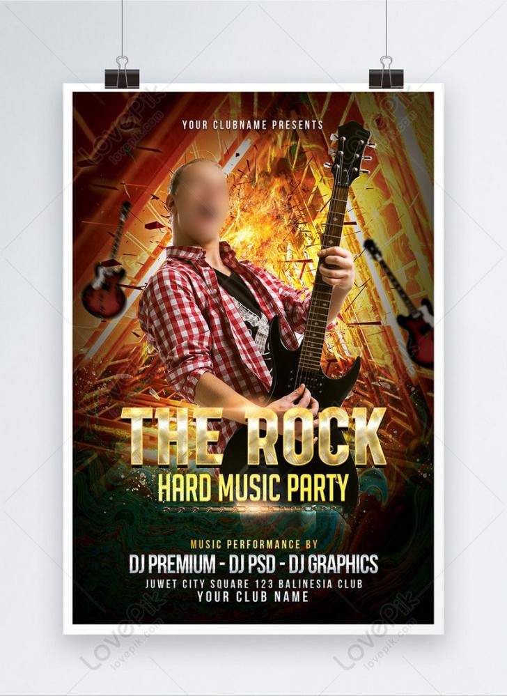 000 Remarkable Free Rock Concert Poster Template Psd Concept 728
