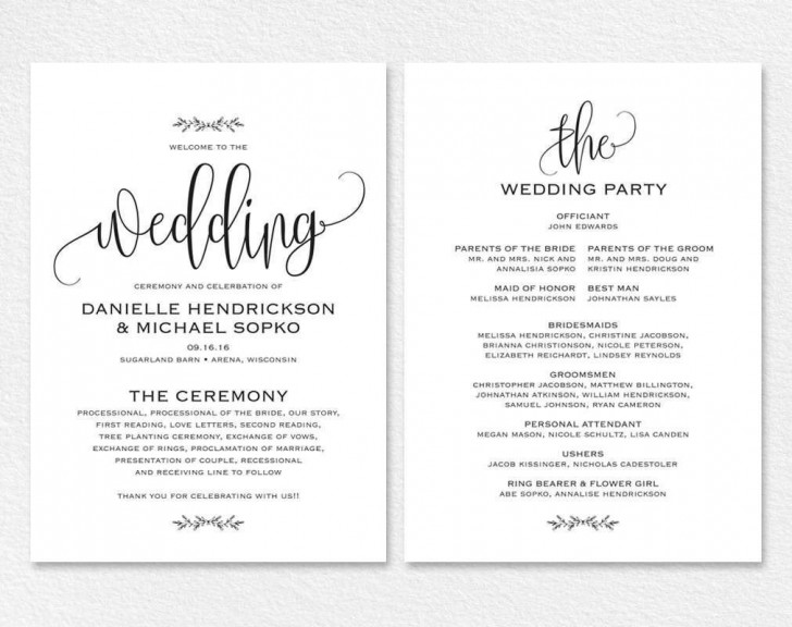 000 Remarkable Free Wedding Order Of Service Template Word Example  Microsoft728