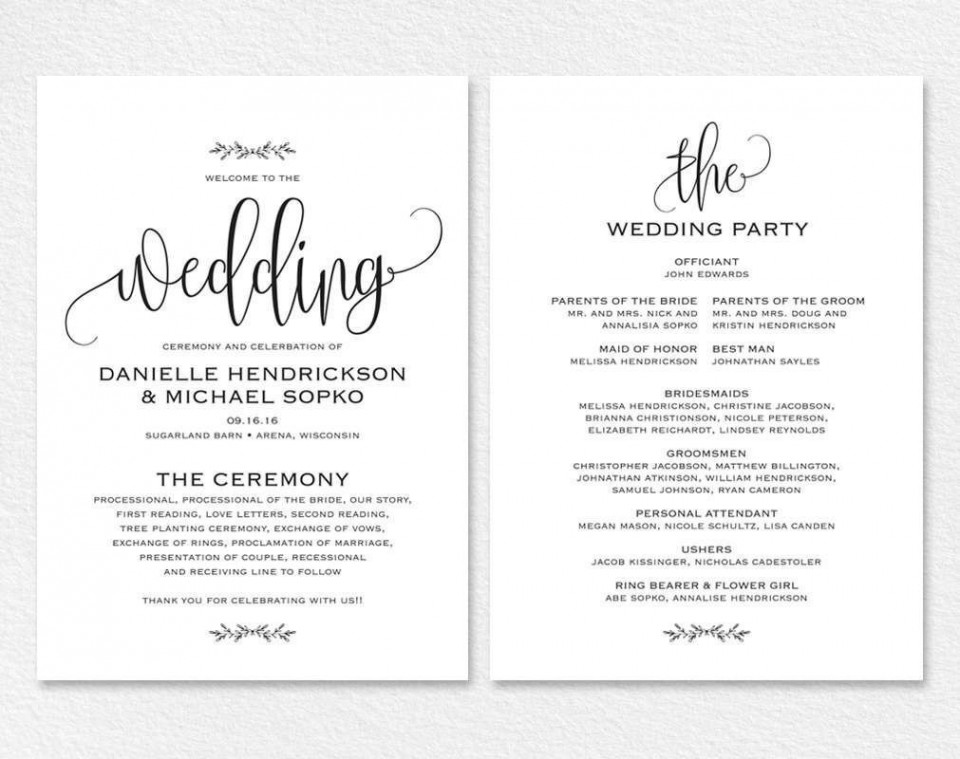 000 Remarkable Free Wedding Order Of Service Template Word Example  Microsoft960