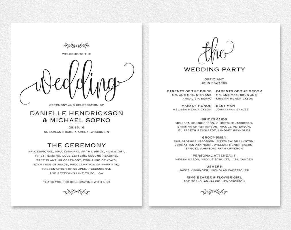 000 Remarkable Free Wedding Order Of Service Template Word Example  MicrosoftFull