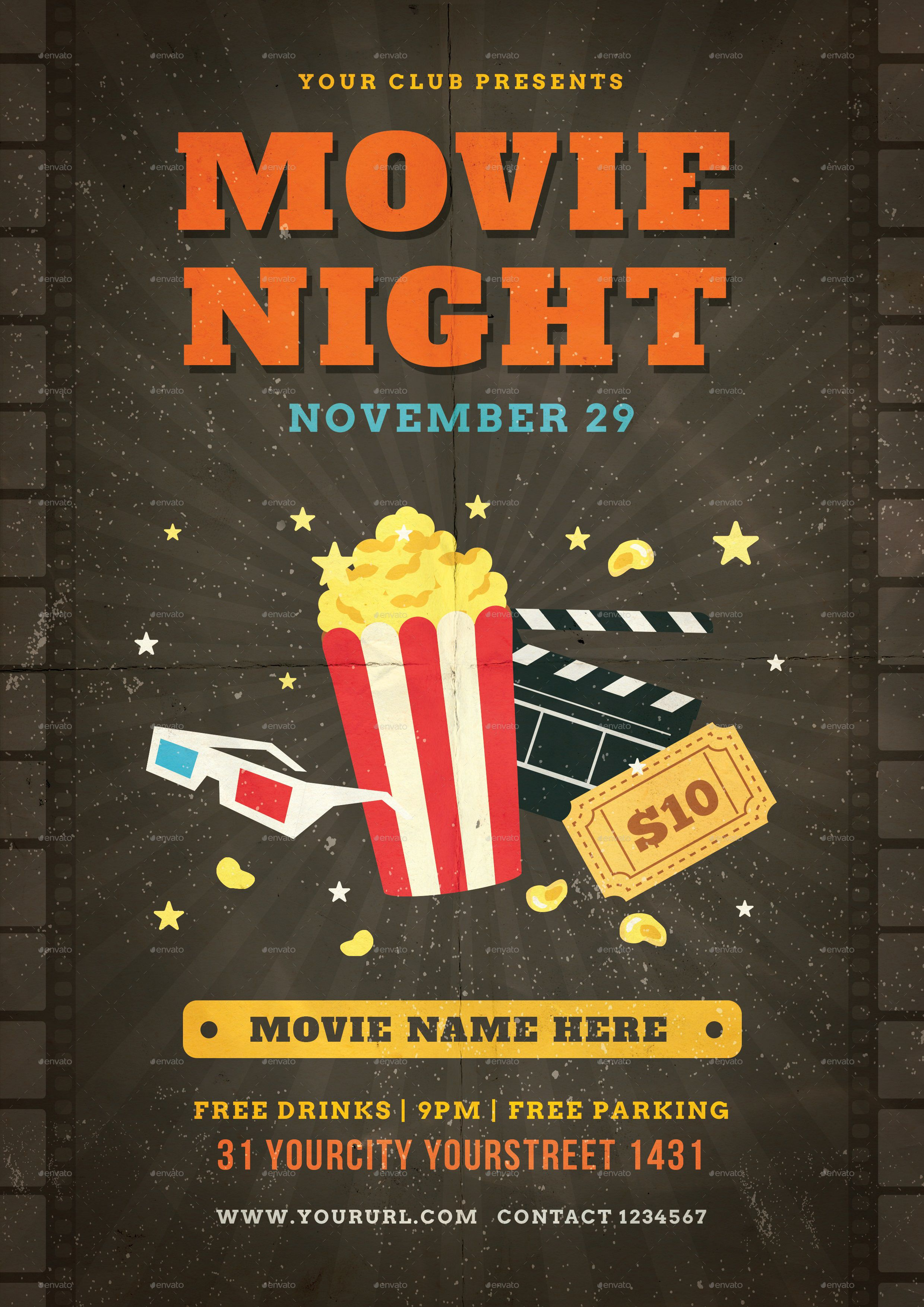 000 Remarkable Movie Night Flyer Template Highest Quality  Editable Psd FreeFull
